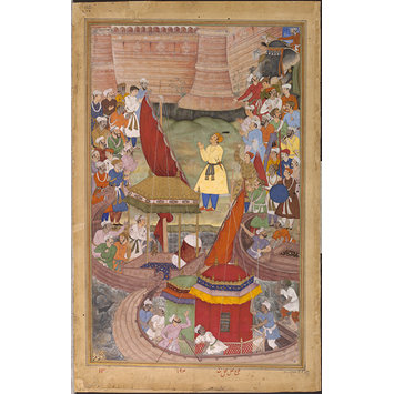 Painting - Akbar giving thanks on hearing of the victory in Bengal