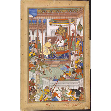 Painting - Akbar receives the boy Abdu'r Rahim at court