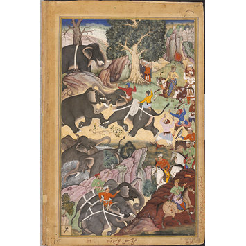 Painting - Akbar Watching a Fight Between Elephants near Malwa