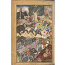 Akbar Watching a Fight Between Elephants near Malwa (Painting)