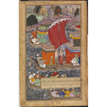 Painting - Akbar's mother travels by boat to Agra