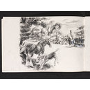 Landscape with horses and carriages (Drawing)