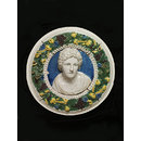 Classical female head; A head in a garland (Roundel)