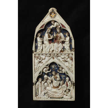 Triptych panel - The Death and Coronation of the Virgin