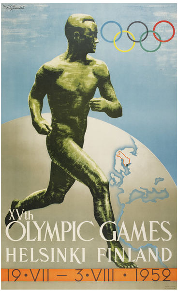 Poster showing male runner and globe, 1952