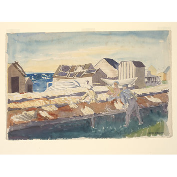 Watercolour - St Anthony's Harbour - A fish drying establishment with seal skins drying.