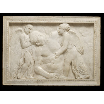 Panel-relief - The dead Christ tended by angels