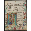 Leaf from an Antiphoner with historiated initial H (Manuscript)