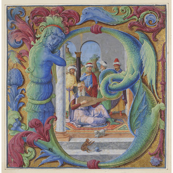 Manuscript - Initial B, with David playing the lute