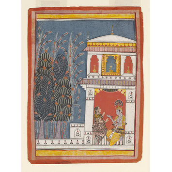Painting - Krishna and a lady in a pavilion.