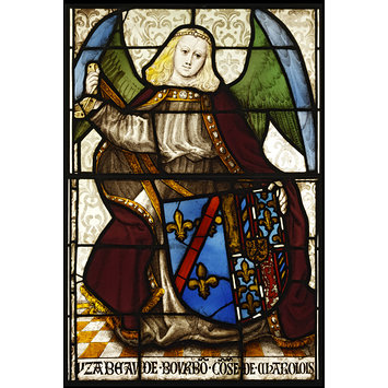 Panel - Arms of Isabella of Bourbon with angel supporter