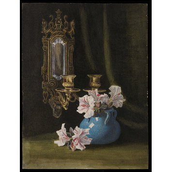 drawing - Still life study of a blue vase with pink and white pelargoniums and double wall sconce