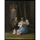 Still life study of a blue vase with pink and white pelargoniums and double wall sconce (drawing)