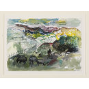 Landscape with sheep (Watercolour)