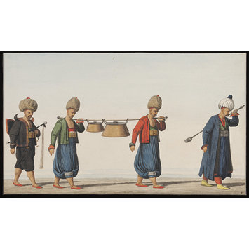 Watercolour - Janissaries with soup kettles and the regimental spoon