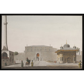 Watercolour - Bab-i-Hümayün (Imperial Gate) to Topkapi Sarayi, with the Fountain of Sultan Ahmet III