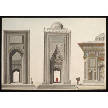 Wtercolour - Elevations of two mosque portals, and part of the Hekimoglu Ali Pasha Fountain at Kabatas