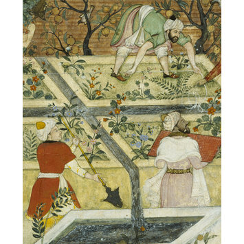 Opaque watercolour - Babur Supervising the Laying Out of the Garden of Fidelity
