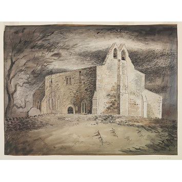Watercolour - Exterior of the Church of St. Denis, Faxton; St. Denis's, Faxton - Exterior; Recording Britain