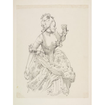 Drawing - woman in eitghteenth century dress and masque