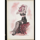'Pin-up' with pink hair in brassiere, corset and black stockings (Watercolour)