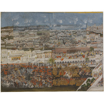 Painting - A Procession of Ghazi ud-Din Haider through Lucknow