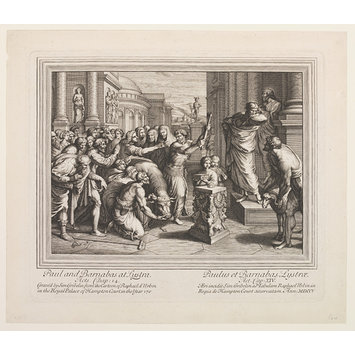 Print - The Seven Famous Cartons [sic] of Raphael Urbin; The Sacrifice at Lystra; St. Paul and Barnabas at Lystra; Raphael Cartoons