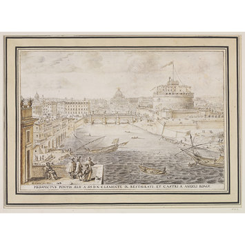 Drawing - The river Tiber in rome looking south towards St peter's and the Castel Sant'Angelo