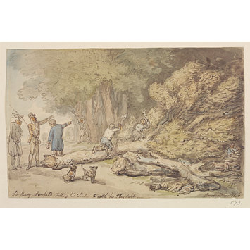 Watercolour - Sir Henry Morshead felling his timber to settle his play debts