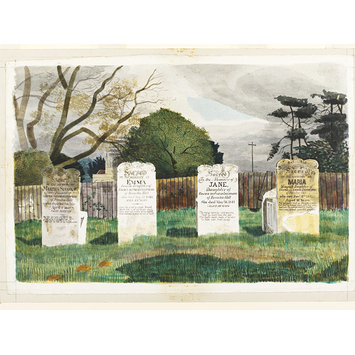 Watercolour - The Livermore Tombs, Barnston, Essex; Recording Britain Collection