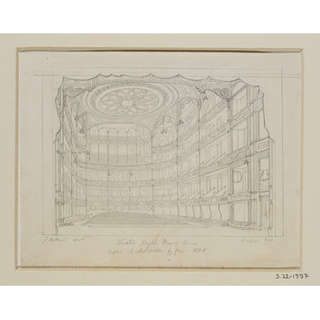 Drawing - Theatre Royal Drury Lane before its destruction by fire - 1808