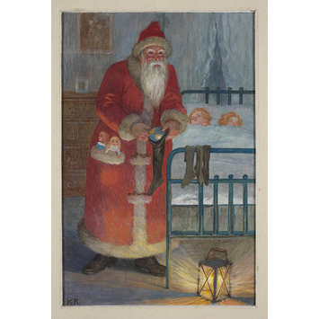 Illustration - Father Christmas putting a ball into a stocking while children sleep