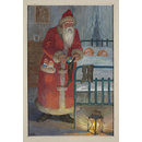 Father Christmas putting a ball into a stocking while children sleep (Illustration)
