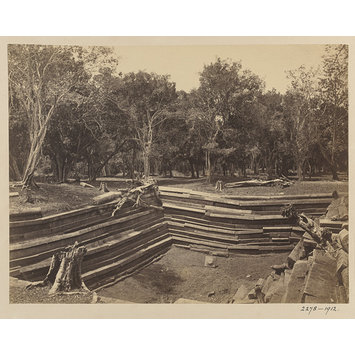 Photograph - Anuradhapura. Ruins of a pokuna or bathing pond to the north-east of the Brazen Palace, 73 feet by 49 feet.; Ruins of a pokuna (bathing pond) at Anuradhapura, north-east of the Lowa-Maha-Paya (Brazen Palace).