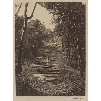 Photograph - Mihintale. First and second flights of stone steps leading towards the summit of the sacred mountain. The steps from base to summit  are said to be 1,800 in number.; Steps leading to the summit of Lion Mountain at Mihintale.