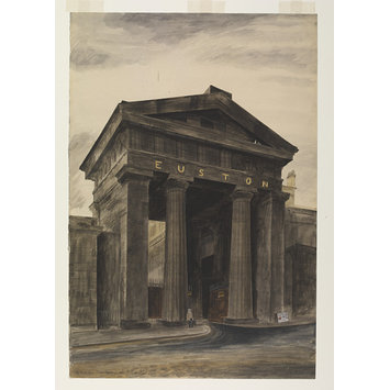 Watercolour - Doric arch, Euston Station, London, NW1; Recording Britain