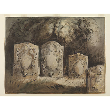 Watercolour - Tombstones, Holy Trinity Churchyard, Hinton-in-the-Hedges; Recording Britain