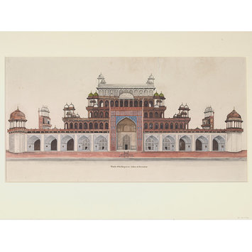 Drawing - Fifteen drawings of Mughal architecture and ornamental detail on Mughal monuments at Agra.