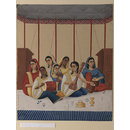 A group of seven female musicians seated under a canopy (Painting)