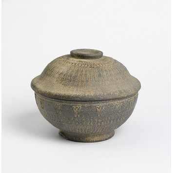 Funerary urn - Lidded bowl with stamp design