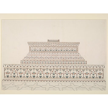 Architectural drawing - The cenotaph of Shah Jahan in the Taj Mahal, Agra