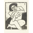 Seated female nude (Woodcut print)