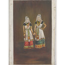 Two Manipuri dancing-girls standing together holding hands. (Painting)