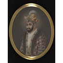 One of twelve miniatures depicting Mughal rulers of India; head and shoulders in profile. (Painting)