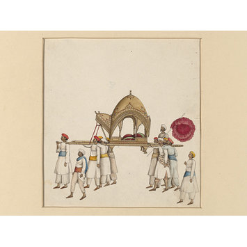 Painting - One of six figures from the Mughal emperor's ceremonial procession on the occasion of the Id