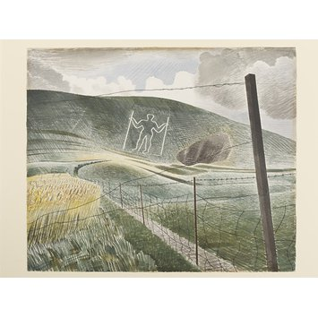Watercolour - The Long Man of Wilmington; The Wilmington Giant