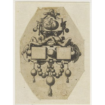 Print - Le Livre de Bijouterie; Fragment of plate showing two designs for pendants