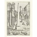 A draftsman leaning against an obelisk sketching ruins; The little book of architecture ruins (Print)