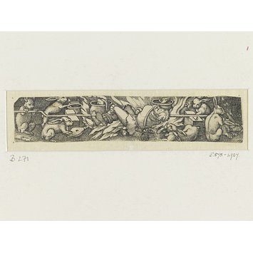 Engraving - The world turned upside down: hares roasting a hunter