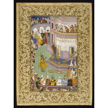 Harivamsa page, Mughal c. 1590 with borders Lucknow, 18th century - Krishna received by Raja Bhishmaka